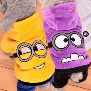 Vestido-para-perros-Minions-Camiseta-Baterias-capucha-Felpa