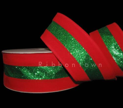 SO PRETTY 5 Yards Christmas Red Velvet Green Glitter Striped Wired Ribbon 2 1//2