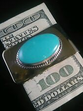 Men's Native American Navajo Turquoise Money Clip /Business Card Holder Unsigned