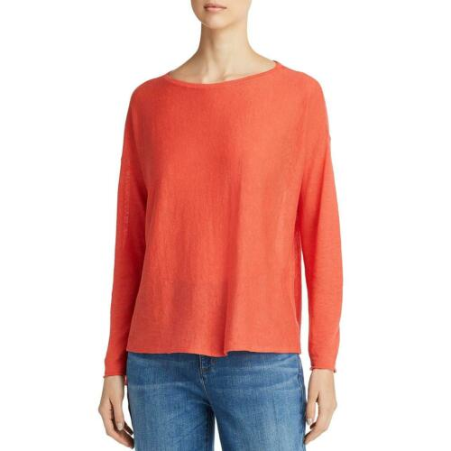 Eileen Fisher Womens Red Linen Blend Boat Neck Boxy Knit Top Shirt S BHFO 3889