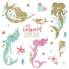 LITTLE MERMAID SLEEPS HERE Glittery WALL DECALS Girl Room Stickers Nursery Decor