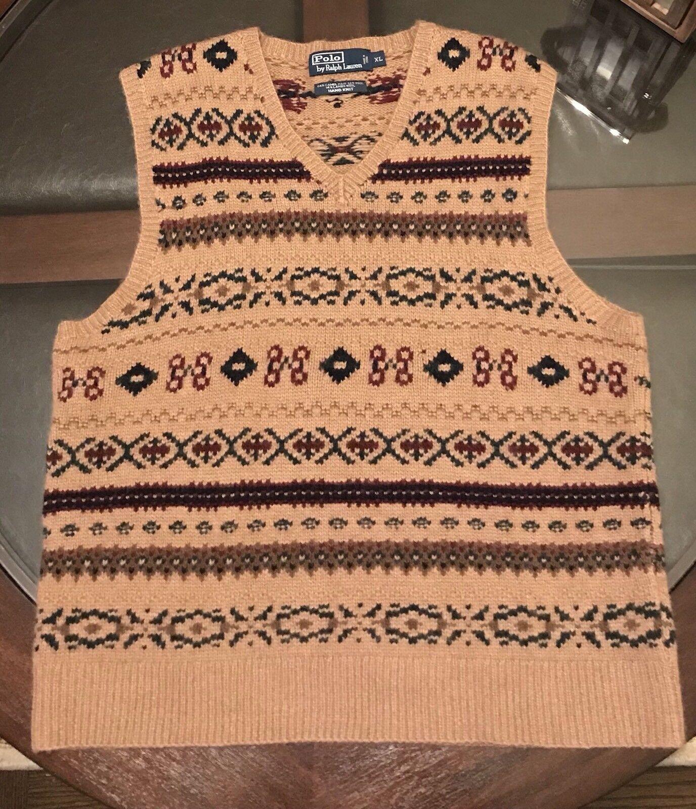 Ralph Lauren Gent's VEST Wool-Camel Hair Fair Isle Hand Knit British Khaki