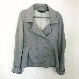 Norma-Kamali-Gray-Jersey-Pea-Coat-Size-M
