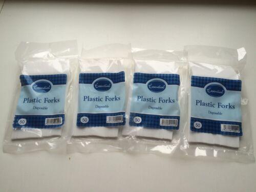 200 tenedores de plástico blanco cubiertos de plástico ideal para fiestas picnics