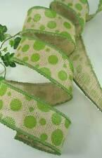 "Apple Green Polka Dot Natural Burlap 9 Yards Wire Edge Ribbon 2"" Bows Wreaths"