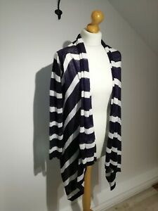 Kew-Jigsaw-Size-S-Uk-8-12-Purple-White-Striped-Linen-Waterfall-Open-Cardigan