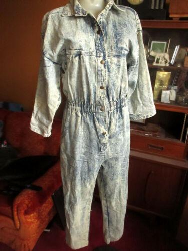 Vtg 80s IDEAS Long Denim Acid Wash Jumpsuit Romper