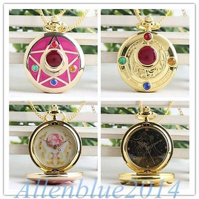 Anime Sailor Moon Golden/Rosa Watch Prism Anhänger Kette Halskette Taschenuh