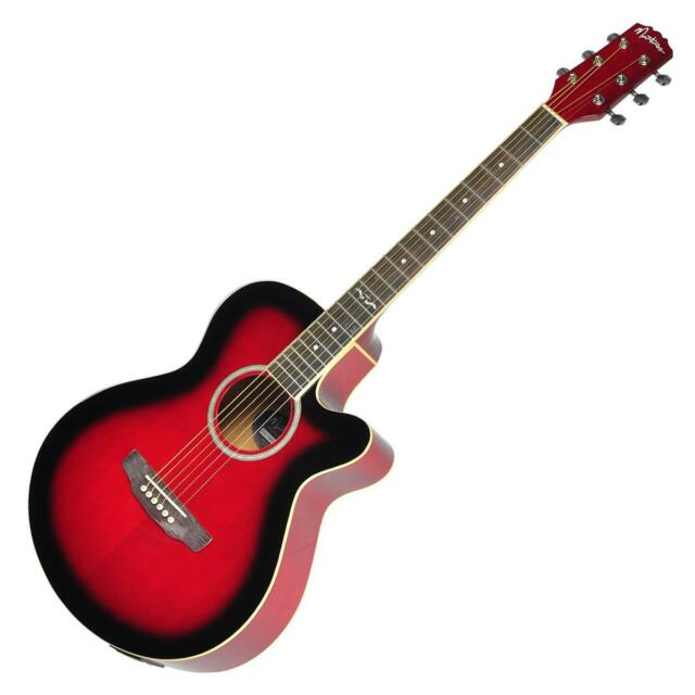 New Guitar Small-Body Acoustic-Electric Cutaway Martinez Red