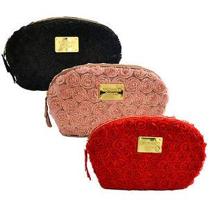 Victoria-039-s-Secret-Makeup-Bag-Satin-Flowers-Rose-Travel-Zip-Cosmetic-Case-Clutch