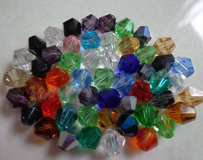 100Pcs Faceted Glass Crystal Bicone Loose Spacer Beads 4mm AB Color For Choose