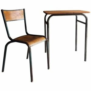 Vintage-Child-039-s-Desk-With-Matching-Chair-Mid-Century-French-1970-039-s