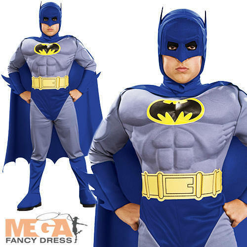 Deluxe Batman Muscle Boy/'s Fancy Dress Childrens Costume Kids Child Outfit New