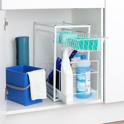 Under Sink Storage Rack Kitchen Unit Bathroom Cupboard