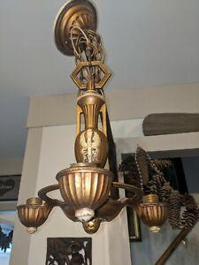 Antique Vintage 1930 S militaire? armée? torche avec ailes Art Deco Lustre 3 lampes