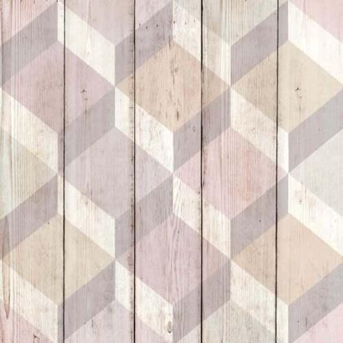 Wooden Effect 3D Cube Wallpaper Geometric Shape Wood Planks Copenhagen Pink