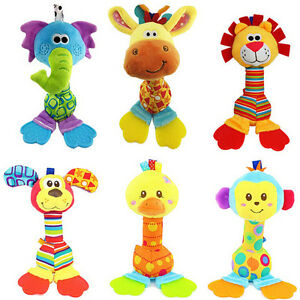 Baby-Hanging-Toy-Cartoon-Animal-Teether-Rattle-Hand-Bell-Plush-Stroller-TH