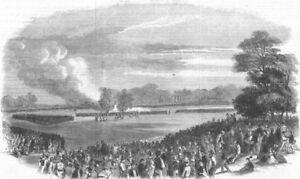 London. Volunteer Field Day, Regent's Park, Antique Print, 1861 Apparence Brillante Et Translucide
