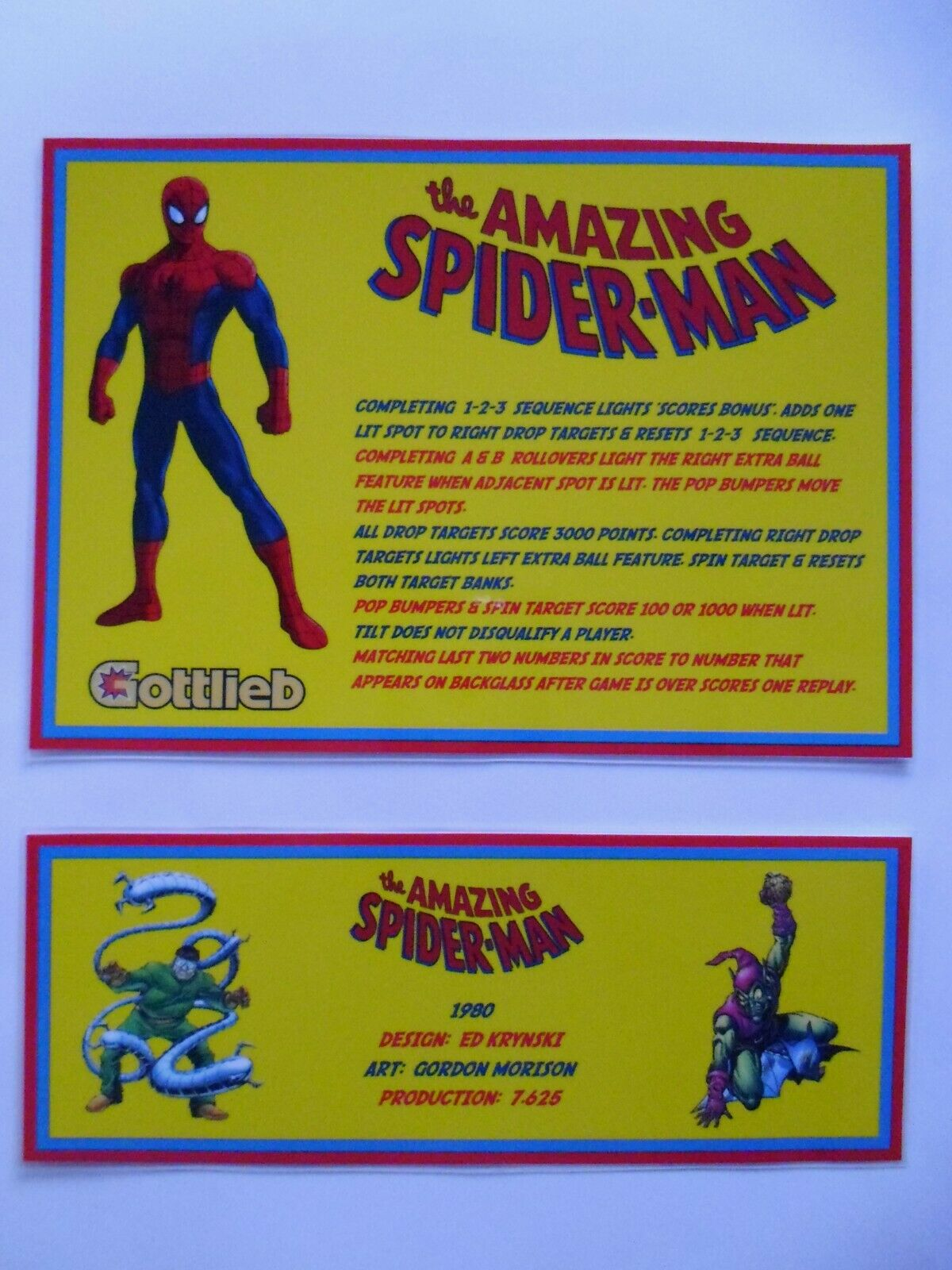 * 'THE AMAZING SPIDER-MAN' Gottlieb 1980 Custom Instruction/Apron Cards (New) *