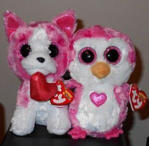 Ty Valentine Beanie Boos ~ ROMEO (Dog)   JULIET (Penguin)(6 Inch ... 2ff8814449d1