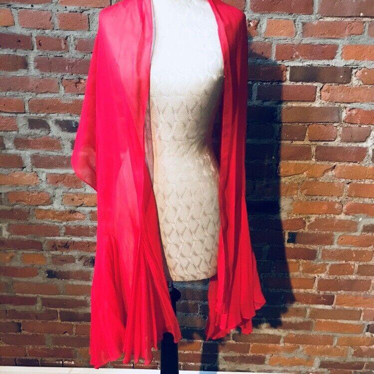 Vintage Travilla Red Silk Chiffon Dress Cocktail … - image 7