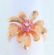 Womens 14k Solid Rose Gold Ring Spectacular Diamond Sapphire Flower Sz 9 1/2