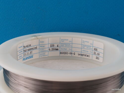 2m~6,5 ft  0.250mm 0.01 in 30 AWG TANTALUM WIRE Ts-ANNEALED PLANSEE AUSTRIA