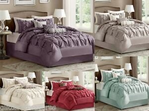 New 7 Piece Comforter Set Bed In A Bag 9 Colors Ebay