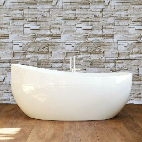Stone Peel /&Stick Gray White Brick Decor Self-Adhesive Film Removable Wall Paper