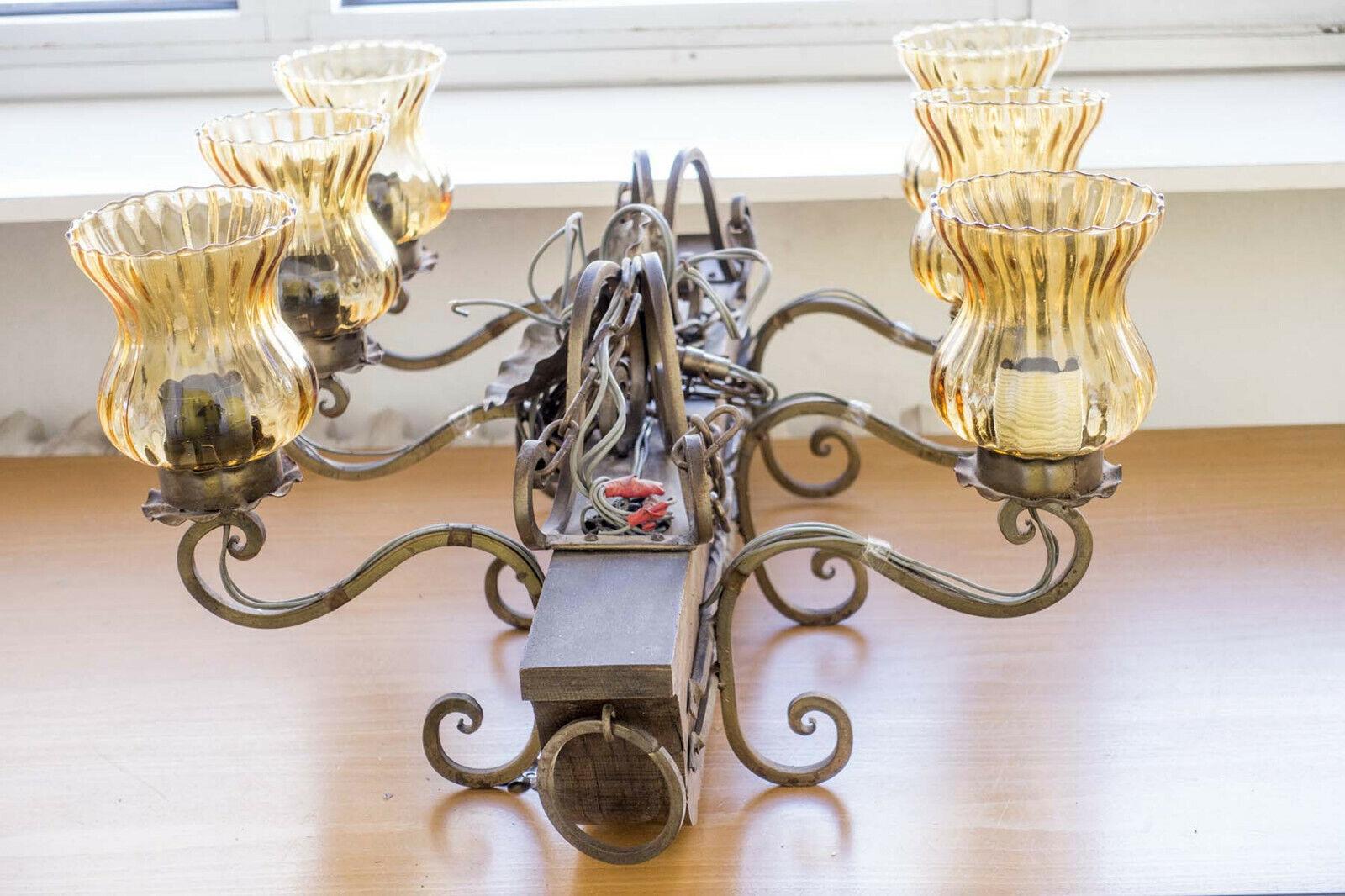 Urige Kneipen-Lampe, Deckenlampe Vintage,  6-flammig, massiver Eichen-Balken