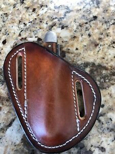 Quick Cross-Draw Leather Sheath Trapper/Small Knife Brown..NO KNIFE
