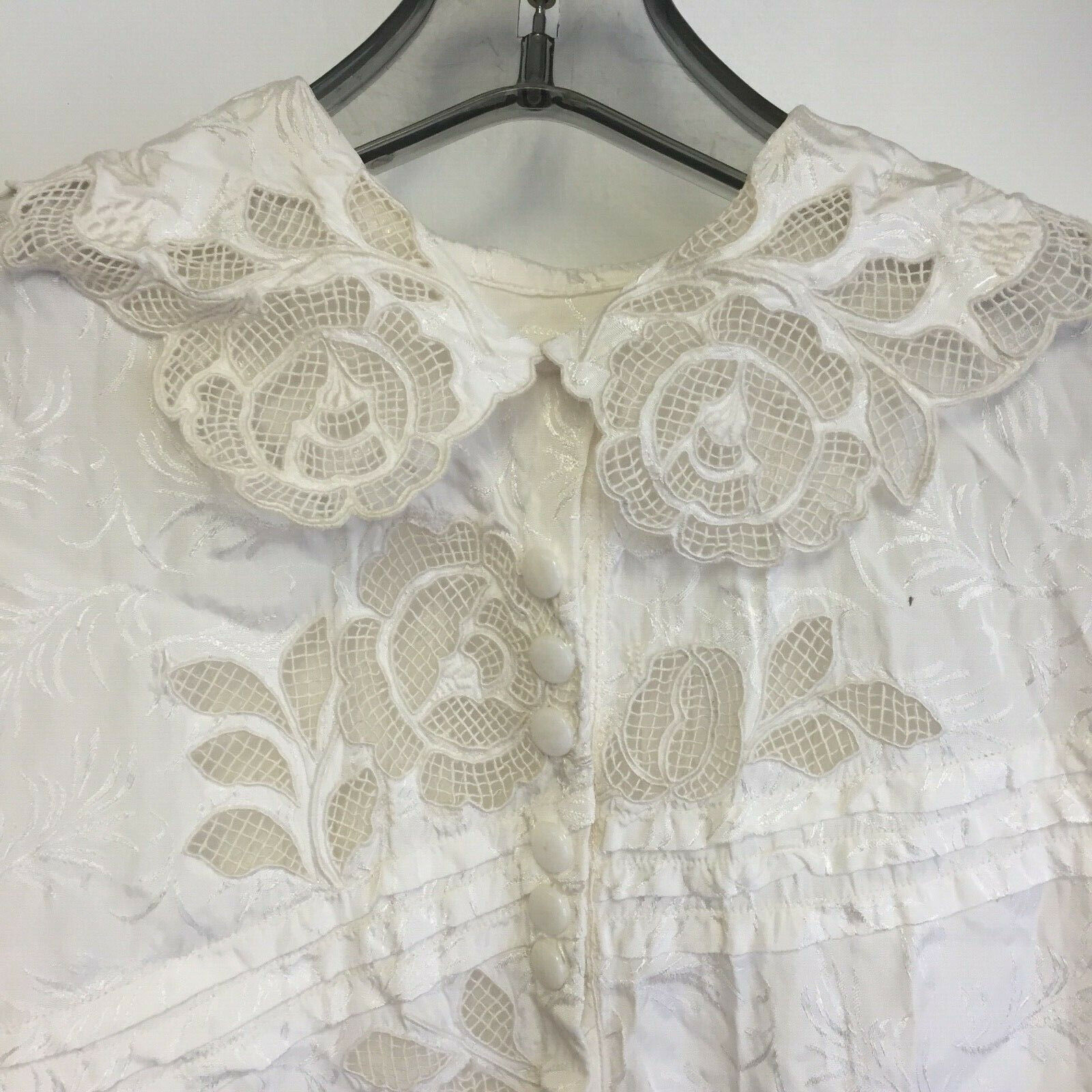 ⭐Vtg Hungarian Blouse Kalocsa Top XS Riselieu Embroidered Hand Made OOAK Flaw