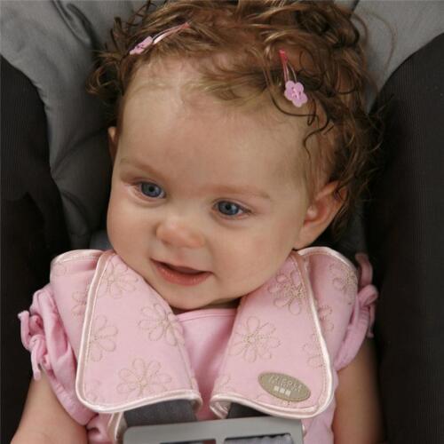 Child Kids Stroller Car Safety Seat Belt Strap Pink//Khaki Shoulder Cover Pad ONE