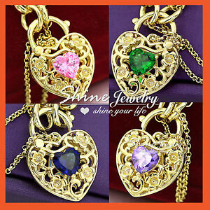 18K-GOLD-GF-SOLID-RAINBOW-GEM-CRYSTAL-HEART-PADLOCK-BELCHER-RING-CHAIN-BRACELET