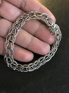 Charm-Bracelet-925-sterling-silver-DST-double-link-box-clasp-7-5-11-8-Grams