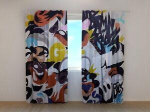 Fotogardine Graffiti 2 Vorhang mit Motiv Fotodruck Flächenvorhang Maßanfertigung