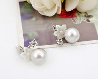 925 Sterling Silver 10MM Pearl Elegant Mother of Pearl Flower Stud Earrings Gift