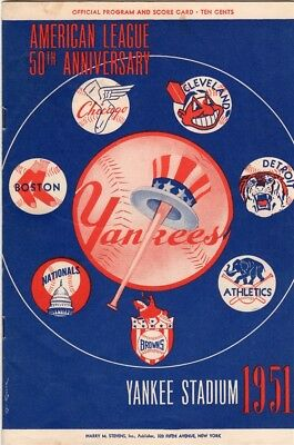 1951 Yankees Program # 6 Mickey Mantle Batting 3 Playing RF// Vs Red Sox Unscored
