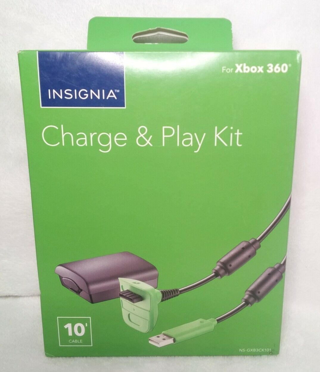 Xbox 360 Play Charge Kit 10f USB Controller Cable & 1200mAh Rechargeable Battery