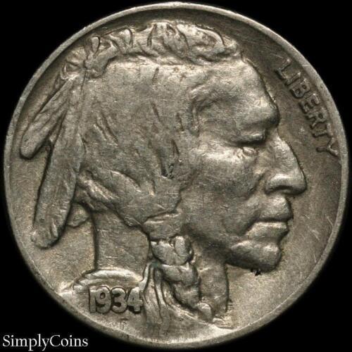 1934 Indian Head Buffalo Nickel ~ Fine ~ US Coin