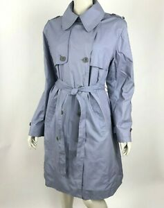 Garnet-Hill-Signature-Double-Breasted-Trench-Coat-Lined-Lilac-Womens-Large-NWT