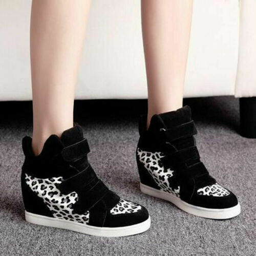 Women Hidden Wedge Heels Shoes Casual High Top Buckle Ankle Boots Sneakers Shoes