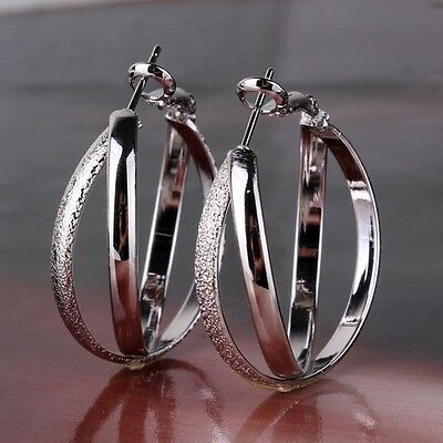 Amazing 18K white gold filled shinning vintage style nice hoop earring