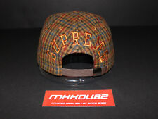 New Supreme Tweed Back Arc Camp Cap Hat 5-Panel Plaid Fall Winter 2014