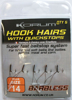 KORUM BARBED HOOK HAIRS WITH QUICKSTOPS-SIZE 10