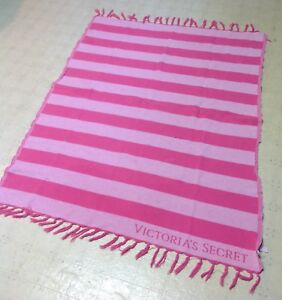 5626647763478 Details about Victoria's Secret Pink Striped Fringe Summer Beach Throw  Blanket *WoW*