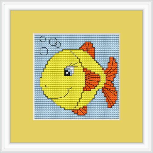 Luca S Beginner 8cm x 8cm Fish Cross Stitch Kit