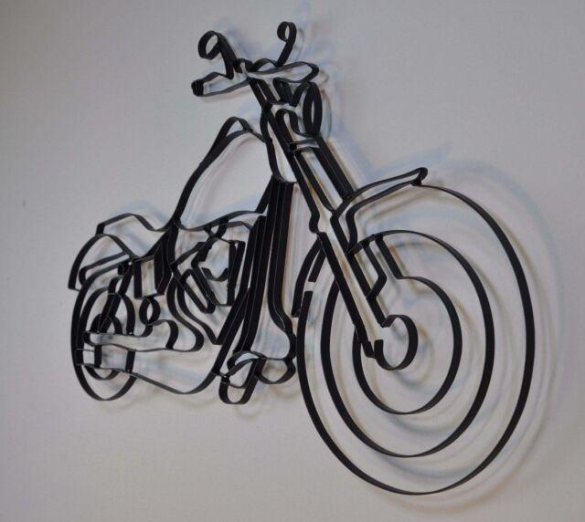 Metal Motorcycle Wall Art.Motorcycle Bike Chopper Handmade Black Metal Steel Wall Art Sculpture 32x20