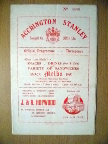 195455 Official Programme ACCRINGTON v WORKINGTON