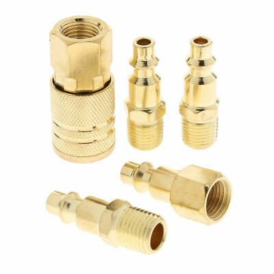 5pc Solid Brass Quick Coupler Set Air Hose Connector Fittings 1//4 NPT Tools